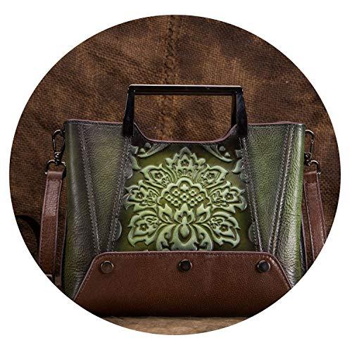Women Crossbody Shoulder Genuine Leather Bag Chinese Style Vintage Tote Handbag Cowhide Messenger Top Handle Bags Bolsa,Green