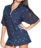 LA LEELA Rayon  Tunic Casual Embroidery Shirt Navy Blue 695|M - US 36 - 38D