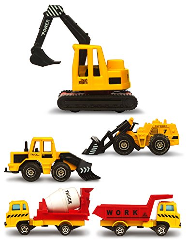 FORREST U DREAM, Construction Vehicles Toys Set for Kids, Total 5 Mini Diecast Trucks Excavator Bulldozer Snow Plow Dump Mixer, Boys and Girls Play Construction Game Small Cars Toy, Party Favors