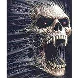 5D DIY Full Diamond Painting Kit, Angry Skull Diamond Painting Full Drill Cross Stitch Adults Kids Room Wall Decoration (11.8 x 15.8 inch)