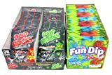 Pop Rocks and Fun Dip Party Pack - 84 Pieces Total - Strawberry and Watermelon Pop Rocks and Cherry and Razz Apple Fun Dip with Tru Inertia Kazoo