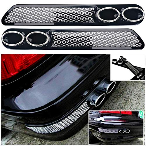 Rear Fender Vent - YSpring Auto Rear Bumper Guards Exterior Fender Pipes Shark's Gill Simulation Chrome Fake Vents Exhaust Tail Pipe for Vehicles (2 pcs/set-Black)