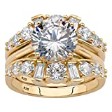 18K Gold over Sterling Silver Round Cubic Zirconia Jacket Bridal Ring Set Size 10
