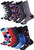 Marino Mens Dress Socks - Colorful Funky Socks for Men - Cotton Fashion Patterned Socks - 12 Pack (Trendy Collection,10-13)
