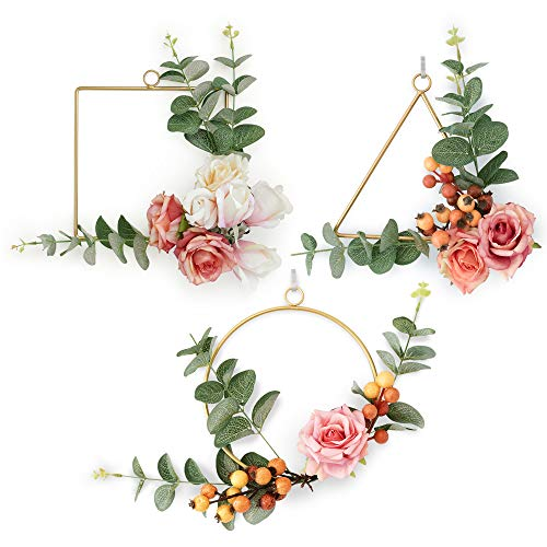 Boho Gold Floral Wreath Wall Hangings Set of 3 Metal Geometric Rings