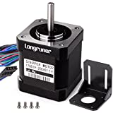 Longruner Stepper Motor Nema 17 Bipolar 48mm 84oz.in(59Ncm) 2A 4 Lead with 1m Cable and Connector for 3D Printer Hobby CNC + 1 Mounting Bracket + 4Pcs 3*6mm M3 Screws
