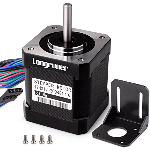 Longruner Stepper Motor Nema 17 Bipolar 48mm 84oz.in(59Ncm) 2A 4 Lead with 1m Cable and Connector for 3D Printer Hobby CNC + 1 Mounting Bracket + 4Pcs 36mm M3 Screws by Longruner