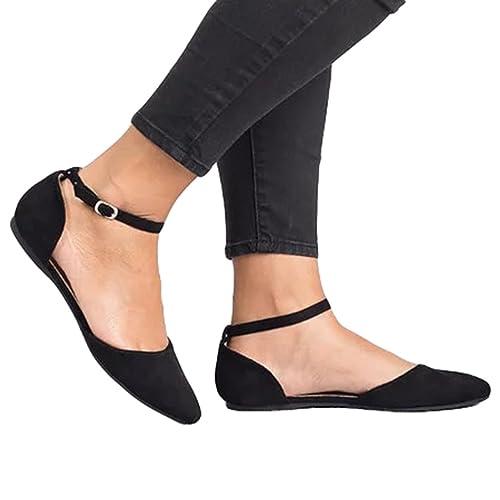 Juleya Damen Sandalen Vorne Geschlossene Sandalen Flach Wohnungen Schuhe  Schnalle Sandalen Hochzeitsschuhe Pumps Gummisohle d87fd7ae72