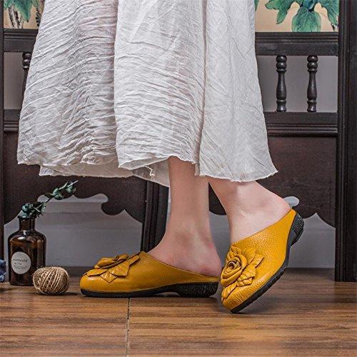 Plano Baotou Primavera KPHY Verano Bajos Remolque Cool Tacones Zapatillas Ocio yellow Damas Fondo Y xSfqHfz