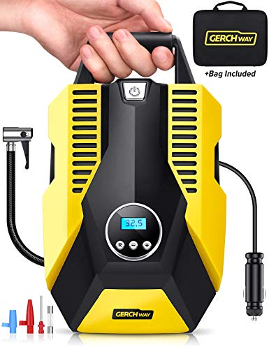 GERCHWAY Portable Car Air Compressor w/Auto Shut Off Feature/Long Cord, Digital Tire Inflator Pump, Storage Bag