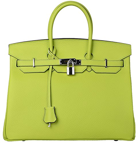 Cherish Kiss Womens Padlock Handbag Genuine Leather Top Handle Bag With Silver Hardware  35Cm With Silver Hardware  Apple Green