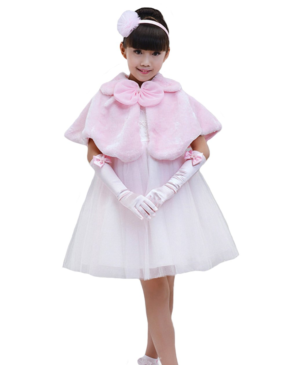 Genda 2Archer Flower Girl Cozy Faux Fur Bolero Shrug Ribbon Ties Princess Cape(Pink,S)
