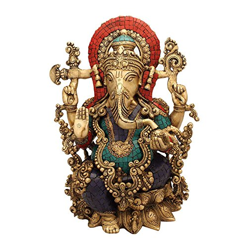 Ganesh Sculpture Turquoise Coral Stone Finish