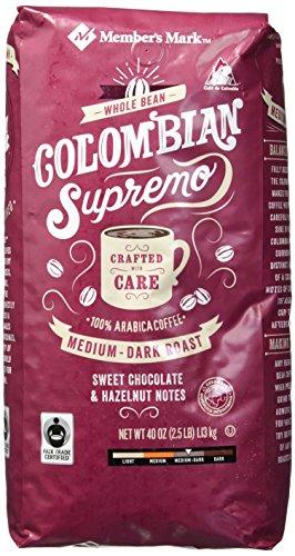 (Member's Mark Colombian Supremo Whole Bean Coffee (40 OZ), Sweet Chocolate & Hazelnut Notes, 40 oz)