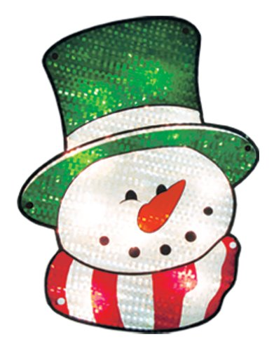 Impact Innovations Christmas Shimmer Lighted Window Decoration, Snowman Face ()