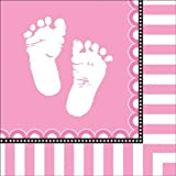 Creative Converting Sweet Baby Feet Pink Lunch Napkins, 16 Count