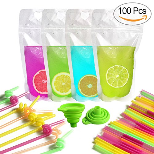 Non Toxic Plastic - AerWo 100Pcs Upgraded Plastic Pouches Bags, Thicken Disposable Drink Container with Gusset Bottom & Reclosable Zipper, 100 Colorful Straws & 2 Funnel Included. Non-Toxic, BPA Free for Cold & Hot