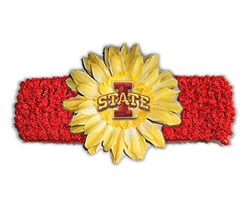Divine Creations NCAA Iowa State Cyclones Girls Crochet Flower Headband, One Size, Red/Yellow Gold