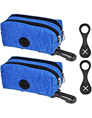 Silicone Dog Poop Bag Holder & Dog Poop Bag Dispensor, Dog Poop Bag Holder for Leash Attachment - Waste Bag Dispenser for Leash - Fits Any Dog Leash - Portable Set with 1 Hand Free Holder Silicone Carrier