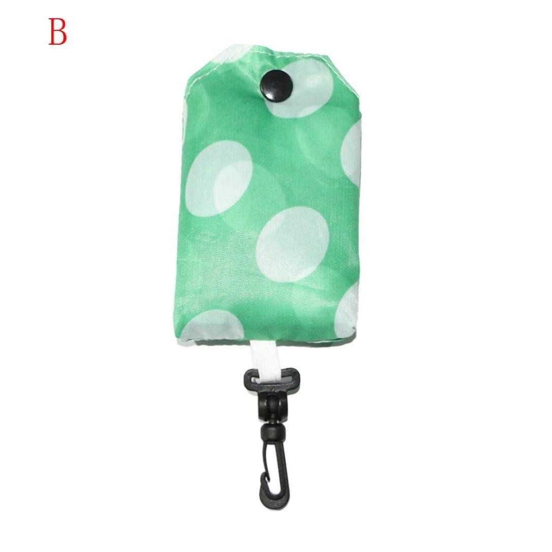 Chartsea Women Foldable Reusable Nylon Eco Handbag Storage Travel Shopping Tote Grocery Bags (B) by Chartsea (Image #1)