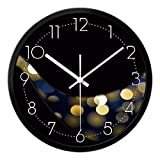 BABYQUEEN 16 Inch Neon Is Stylish Living Room Wall Clock Creative Modern Minimalist Decor Mute Quartz Clock Black