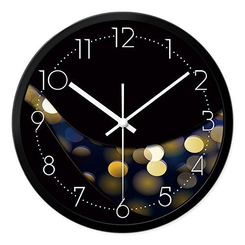 BABYQUEEN 16 Inch Neon Is Stylish Living Room Wall Clock Creative Modern Minimalist Decor Mute Quartz Clock Black