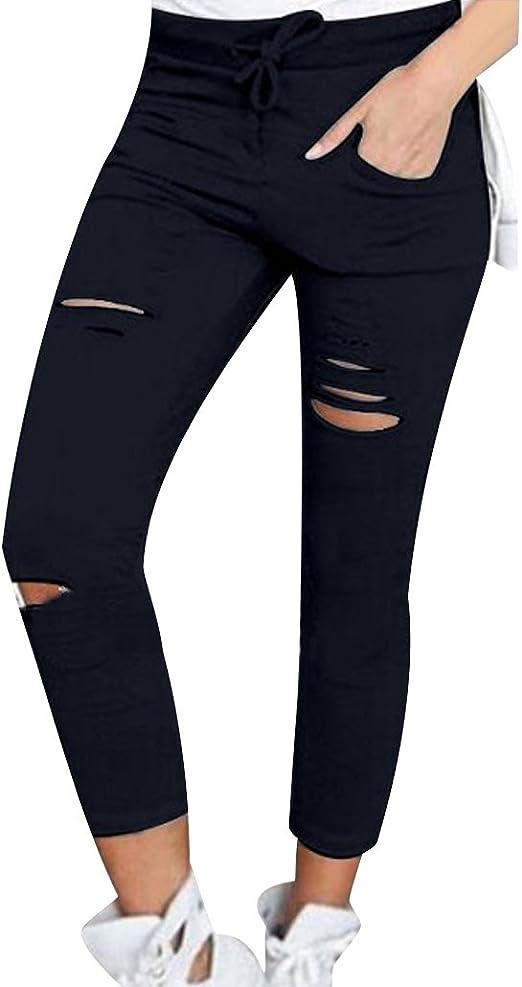 ISSHE Pantalones Rotos Mujer Pantalon Skinny Slim Mujer Jeggings ...