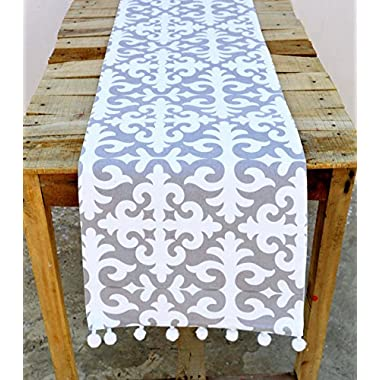 Christmas Runner Moroccan Print Gray and White Cotton Table Runner Bohemian Size Available (14X60)
