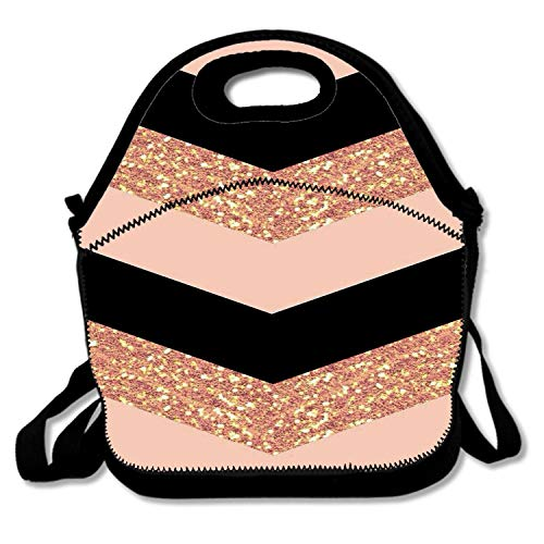 Insulated Neoprene Lunch Bag - Removable Shoulder Strap - Reusable Thermal Thick Lunch Tote/Lunch Box/Cooler Bag For Women,Teens,Girls,Kids,Baby,Adults, Rose Gold Black Glittery Chevron