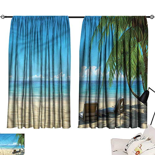 smallbeefly Living Room Curtains Tropical,Beach Chairs Sandy Shore 72