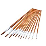 12 Pieces Paint Brushes Set Fine Paint Brush Acrylic Painting Brush for Artist Oil Painting Watercolor, Dark Brown