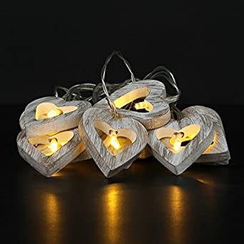 Set Of 10 Warm White LED Wooden Heart String Lights Battery Operated Indoor Home: Amazon.co.uk ...