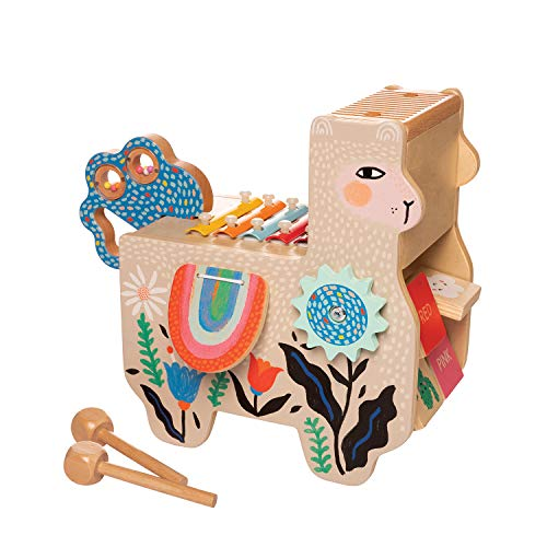 Manhattan Toy Musical Llama Wooden Instrument for Toddlers with Maraca, Clacking Saddlebags, Drumsticks, Washboard & - Dark Manhattan Wood