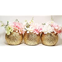 Amazon new york centerpieces party supplies handmade products wedding centerpiece set of 3 bridal shower decorations round glitter vase gold party decor baby shower centerpiece wedding decorations junglespirit Choice Image