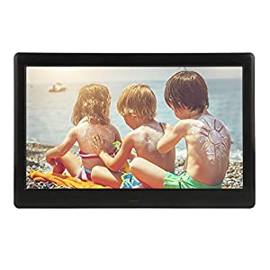 DBPOWER HD Digital Photo Frame LCD Screen with Auto-Rotate/Calendar/Clock Function & Remote Control, Black (10 inch)