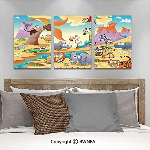 - 3Pc Creative Wall Stickers Savannah Animal Family with Volcanos Mammals Nature Beasts Hippo Camel Cartoon Sketch Design Bedroom Kids Room Nursery Dinning Wall Decals Removable Art Murals,19.7