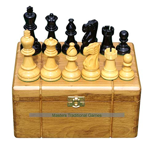 Masters Traditional Games Premium Boxwood Staunton Chess Pieces in Teak Storage Box, 3.75 Inch King