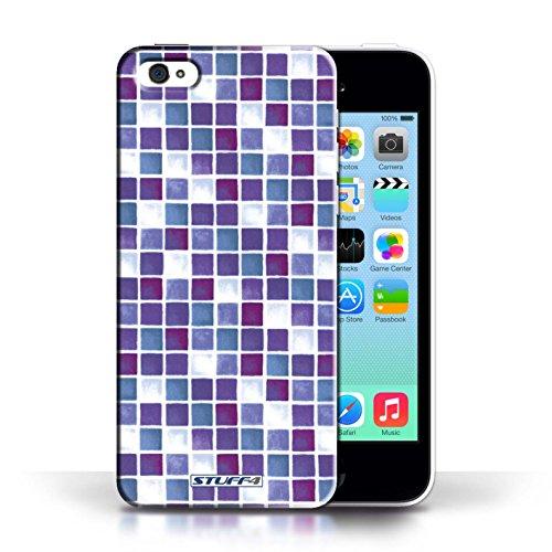 Etui / Coque pour Apple iPhone 5C / Violet/Blanc conception / Collection de Carreau Bain
