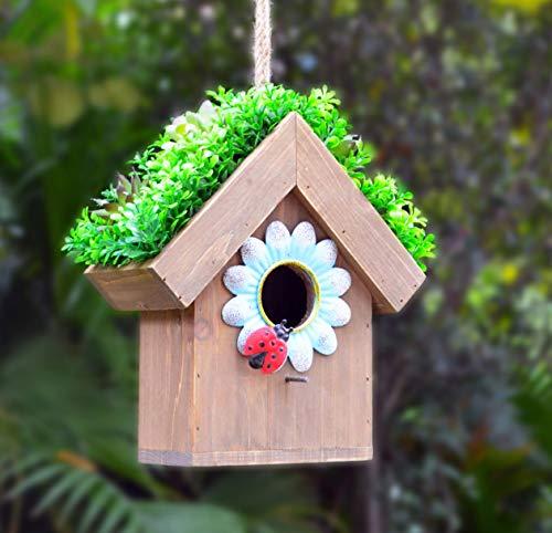 GIFTME 5 Cute Birdhouse Wooden Decorative Hanging Outdoor for Spring Garden Décor-10.5 Inch Blue