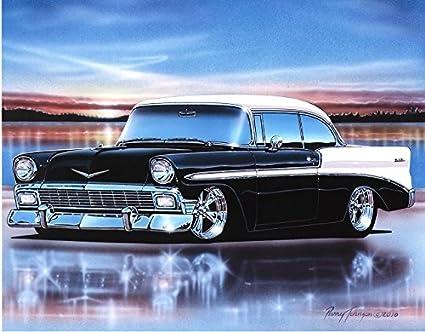 1956 Chevy Bel Air 2 Door Hardtop Hot Rod Car Art Print 11x14 Black White