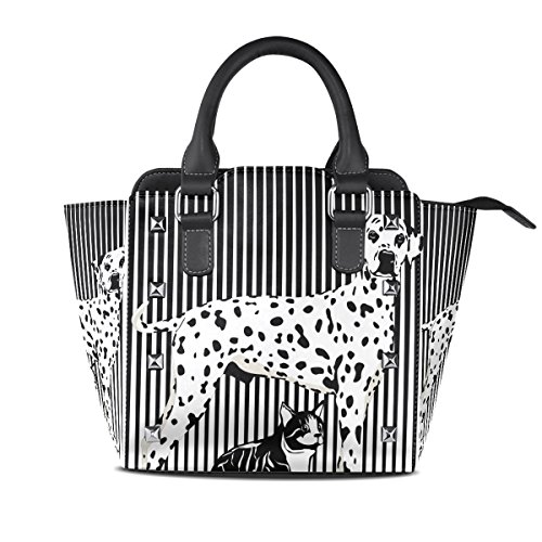 TIZORAX Black Handle Dog And Leather White Shoulder Cat PU Bags Handbags Women's Top rawFrqnT
