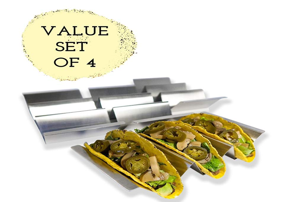 Taco Holder 4 Pack With Handles,Stand 3 Tacos, Stylish Stainless Steel Stands - Oven Safe, Dishwasher Safe, Grill Safe