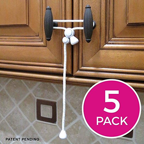 Kiscords Baby Safety Cabinet Locks For Knobs Child Safety Cabinet Latches For Home Safety Strap For Baby Proofing Cabinets Kitchen Door RV No Drill No Screw No Adhesive / Color White/ 5 Pack - Diameter Loop