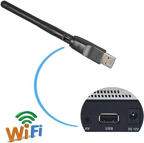 2,4 gHz 150 Mbps USB WiFi adaptador con antena, 11 N Dongle inalámbrico para MAG 254 250 iptv Set Top Box Skybox Openbox Raspberry Pi/PC/escritorio/portátiles/win7,8,10/Mac OS/Linux (RT5370 memoria): Amazon.es: Informática