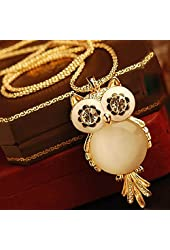 Jovana Retro Big Eye Owl Pendant Design Necklace(Gold)