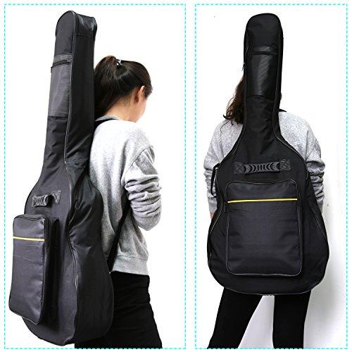 Large Product Image of CAHAYA 40 41 Inch Acoustic Guitar Bag Waterproof Dual Adjustable Shoulder Strap Guitar Case Gig Bag - Black