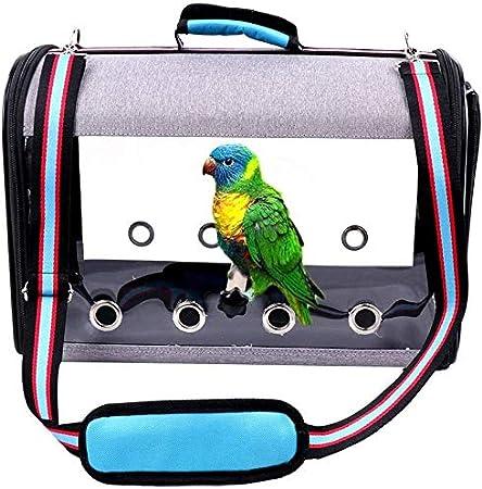 IDAS Jaula de Viaje para Pájaros,Portador de Viaje para Pájaros Transparente Ligero,Jaula de Viaje para Loros Transparente de PVC Bolsa de Pájaros para Mascotas Transpirable (Blue)