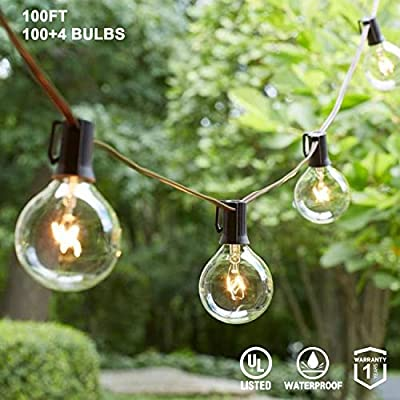 """AVANLO 100Ft G40 String Lights with 100 Globe Clear Bulbs & 4 Spare Bulbs Waterproof IP44 Patio Hanging Lights for Indoor & Outdoor Decor UL Listed Maximum 100 Bulbs Extend - ❤ Specification -- G40 Globe string lights with 100 clear bulbs and 4 extra spare bulbs. Total length 100 feet. ❤ Easy to Use - 6"""" lead with male plug, 12"""" spacing between bulbs.(Not connectable) To use zip ties, cup hooks, or guide wires to install the lights with the built-in loops to hang it in any space perfectly, but be care of the bulbs as the incandescent bulb is fragile. ❤ Safety -- UL listed and waterproof have assurance to use indoor and outdoor perfectly. There 2 spare fuse is stored in female plug, it can light up also even some bulbs broken or removed the other bulbs. - patio, outdoor-lights, outdoor-decor - 51Fkoh6TLnL. SS400  -"""