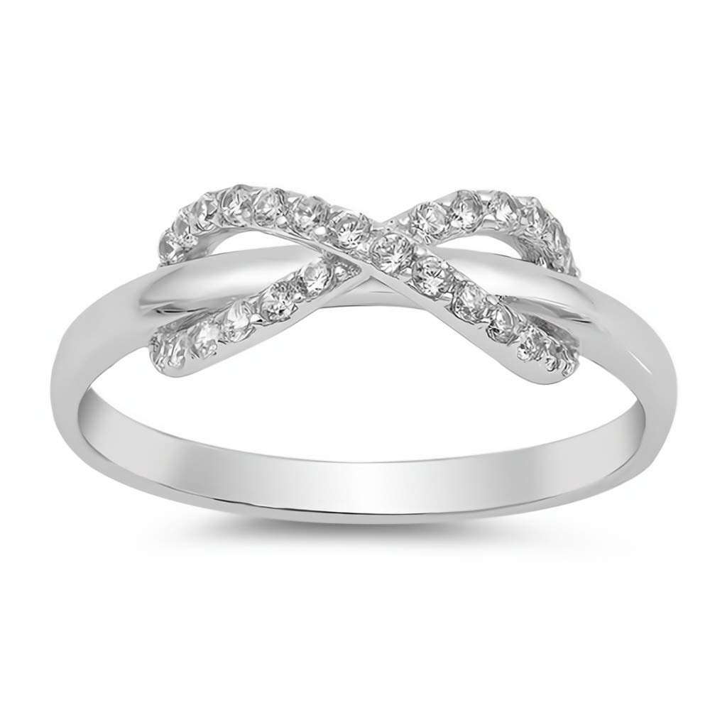 Jewelry Gift for Women Glitzs Jewels 925 Sterling Silver Infinity Ring Clear CZ