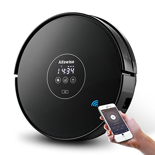Alfawise x5 Wifi Robotic Cleaner Alexa with Strong Suction for Fine Sand ,Pet Hair ,Marble Floor and Carpet,Gyroscope Precise Positioning(Black) by Alfawise